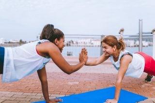 women doing pushup
